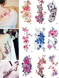 cheap -tattoo sticker body temporary tattoos 9 pcs flower water resistant water proof body arts vacation bikini