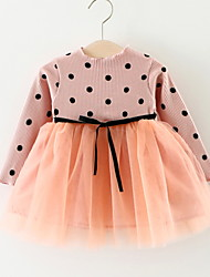 cheap -Baby Girls' Basic Daily Dusty Rose Polka Dot / Patchwork Lace up / Patchwork Long Sleeve Knee-length Cotton Dress Black / Toddler