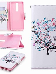 cheap -Case For Nokia Nokia 8 / Nokia 6 / Nokia 6 2018 Wallet / Card Holder / with Stand Full Body Cases Tree Hard PU Leather