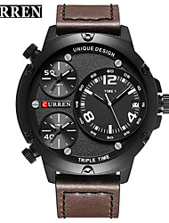 cheap -CURREN Men's Dress Watch Bracelet Watch Quartz Genuine Leather Black / Khaki Water Resistant / Waterproof Calendar / date / day New Design Analog Classic Casual Fashion - Black / Red Black / Yellow
