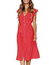 cheap -Women's Daily Going out Active Cute Petal Sleeve Shirt Dress - Polka Dot Ruffle Black Yellow Blue S M L XL