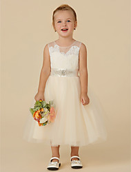cheap -Princess Tea Length Wedding / Birthday / Pageant Flower Girl Dresses - Lace / Tulle Sleeveless Illusion Neck with Sash / Ribbon / Beading / Appliques