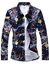 cheap -Men's Plus Size Animal Print Slim Shirt Basic Daily Going out Spread Collar White / Navy Blue / Long Sleeve