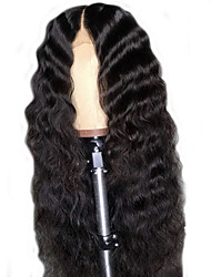 cheap -Remy Human Hair Lace Front Wig Deep Parting With Ponytail style Brazilian Hair Body Wave Natural Black Wig 150% Density with Baby Hair Natural Hairline Bleached Knots Women's Long Human Hair Lace Wig