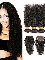 cheap -3 Bundles with Closure Mongolian Hair Kinky Curly Human Hair Headpiece Extension Bundle Hair 8-24 inch Black Natural Color Human Hair Weaves Natural Adorable Best Quality Human Hair Extensions / 8A