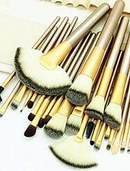 abordables -Professionnel Pinceaux à maquillage ensembles de brosses 24pcs Economique Professionnel Doux Couvrant Confortable Pinceau en Fibres Synthétiques Bois / bambou pour