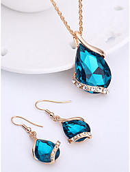 cheap -Women's Sapphire Crystal Jewelry Set Drop Earrings Pendant Necklace Pear Cut Solitaire Drop Ladies Fashion Elegant Rose Gold Crystal Rhinestone Earrings Jewelry Red / Green / Blue For Wedding Party
