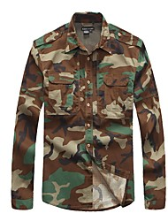 cheap -Men's Camo Hiking Shirt / Button Down Shirts Long Sleeve Outdoor Breathable Quick Dry Wear Resistance Multi Pocket Roll up Sleeves Shirt Top Summer Cotton Camping / Hiking Hunting Outdoor Exercise
