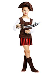 cheap -Pirate Costume Flower Girl Dress Kids Girls' A-Line Slip Halloween Halloween Carnival Children's Day Festival / Holiday Polyster Brown Carnival Costumes Striped Solid Colored Halloween / Top / Skirt