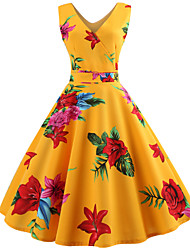 cheap -Women's Yellow Black Dress Vintage Spring Daily Going out Swing Floral V Neck Print S M Slim / Cotton