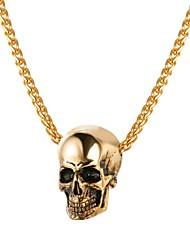cheap -Men's Pendant Necklace Rope Foxtail chain Mexican Sugar Skull Skull Fashion Satanic Stainless Steel Gold Black Silver 55 cm Necklace Jewelry 1pc For Gift Street