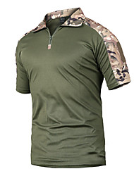 cheap -Men's Camo Hiking Tee shirt Short Sleeve Outdoor Breathable Quick Dry Wear Resistance Tee / T-shirt Top Summer Polyester Standing Collar Camping / Hiking Hunting Outdoor Exercise Army Green Khaki