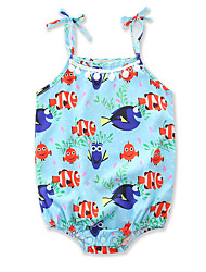 cheap -Baby Girls' Active / Basic Holiday / Going out Print Printing Sleeveless Bodysuit Light Blue / Toddler