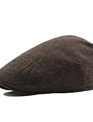 cheap -Men's Vintage Work Cotton Polyester Beret Hat-Solid Colored Fall Winter Brown White Black