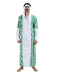 cheap -Arabian Costume Men's Highschool Halloween Halloween Carnival Masquerade Festival / Holiday Polyster Outfits White Solid Colored Striped Halloween