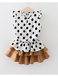 cheap -Kids Girls' Basic Daily Solid Colored Polka Dot Print Sleeveless Above Knee Dress Brown / Cotton