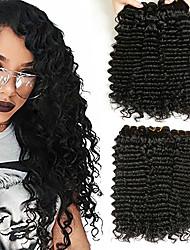 cheap -3 Bundles Mongolian Hair Deep Wave Human Hair Unprocessed Human Hair Wig Accessories Headpiece Natural Color Hair Weaves / Hair Bulk 8-28 inch Natural Color Human Hair Weaves Simple Fashionable / 8A