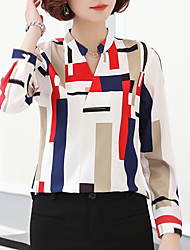 cheap -Women's Daily Going out Street chic Slim Blouse - Geometric / Color Block Print Stand Black / Sexy