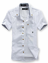 cheap -Men's Daily Beach Weekend Plus Size Slim Shirt - Solid Colored Basic Button Down Collar Wine / Short Sleeve / Summer