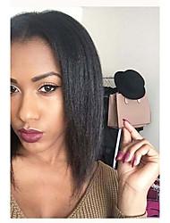 cheap -Remy Human Hair Full Lace Wig Bob Short Bob Kardashian style Brazilian Hair Yaki Straight Black Wig 130% Density with Baby Hair Natural Hairline 100% Hand Tied Women's 8-14 Human Hair Lace Wig Aili