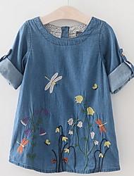 cheap -Kids Girls' Active Floral Long Sleeve Dress Blue