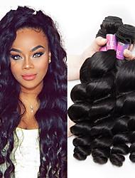 cheap -4 Bundles Malaysian Hair Loose Wave Human Hair Wig Accessories Natural Color Hair Weaves / Hair Bulk Hair Care 8-28 inch Natural Color Human Hair Weaves Soft Silky Fashion Human Hair Extensions