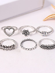 cheap -Women's Ring Set Midi Rings Stackable Rings 6pcs Silver Alloy Ladies Vintage European Causal Daily Jewelry Retro Heart Flower