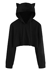 cheap -Women's Going out Hoodie - Solid Colored Black M