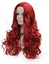 cheap -Synthetic Wig Curly Middle Part Wig Long Red Synthetic Hair Women's Synthetic Red StrongBeauty