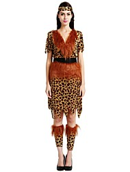 cheap -Primitive Costume Women's Adults Halloween Halloween Carnival Masquerade Festival / Holiday Polyster Outfits Brown Solid Colored Polka Dot Halloween