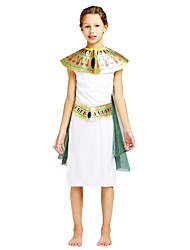 cheap -Pharaoh Costume Girls' Teen Halloween Halloween Carnival Children's Day Festival / Holiday Polyster Outfits White Solid Colored Halloween