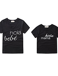 cheap -Toddler Mommy and Me Active Basic Daily Holiday Letter Print Short Sleeve Regular Tee Black