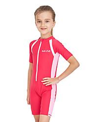 abordables -Enfants Fille Actif Sports Plage Couleur Pleine Manches courtes Coton Maillot de Bain Fuchsia