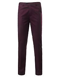 abordables -Homme Basique Quotidien Mince Costume Pantalon - Couleur Pleine Taille haute Rouge Bleu Marine Gris 34 36 38