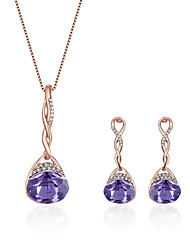 cheap -Women's Sapphire Amethyst Necklace Earrings Stylish Ladies European Fashion Elegant Rhinestone Earrings Jewelry Purple / Red / Blue For Daily Evening Party