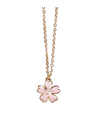 cheap -Women's Pendant Necklace Charm Necklace Stylish Flower Ladies Romantic Sweet Alloy Pink 46 cm Necklace Jewelry 1pc For Date Valentine