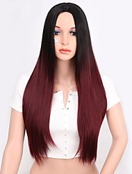 cheap -Wig Accessories Straight Layered Haircut Synthetic Hair Women / Synthetic Burgundy Wig Women's Long Machine Made