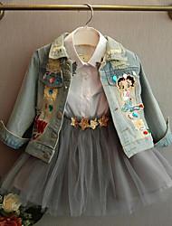 cheap -Kids Girls' Active Street chic Daily Patchwork Ripped Patchwork Long Sleeve Regular Suit & Blazer Blue