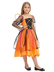 cheap -Witch Costume Girls' Kid's Halloween Halloween Carnival Children's Day Festival / Holiday Polyster Outfits Orange Solid Colored Halloween