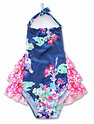 cheap -Baby Girls' Active / Street chic Daily / Holiday Floral / Print Printing Sleeveless Bodysuit Blue / Toddler