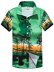 cheap -Men's Daily Basic Shirt - Geometric Print Blue / Short Sleeve / Summer