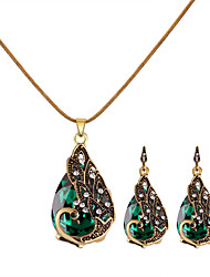 cheap -Women's Necklace Earrings Retro Peacock Ladies Vintage European Fashion Rhinestone Earrings Jewelry Red / Green / Blue For Causal