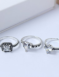 cheap -Women's Ring Set Midi Rings Stackable Rings 3pcs Silver Rhinestone Alloy Square Ladies Simple European Daily Jewelry Classic Heart Heart