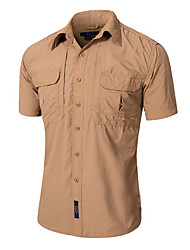 cheap -Men's Hiking Shirt / Button Down Shirts Short Sleeve Outdoor Fast Dry Quick Dry Breathability Wearable Shirt Top Autumn / Fall Spring Cotton Brown Camping / Hiking Outdoor Exercise Multisport