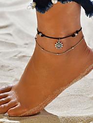 abordables -Femme Bracelet de cheville bijoux de pieds Multirang Soleil Pas cher dames Rétro Vintage Bohème Décontracté / Sport Mode Bracelet de cheville Bijoux Noir Pour Plein Air Sortie