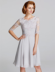 cheap -A-Line Mother of the Bride Dress Elegant Plus Size Scoop Neck Knee Length Chiffon Lace Half Sleeve with Pleats Appliques 2020 / Illusion Sleeve