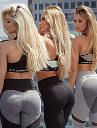 cheap -Women's High Waist Yoga Pants Patchwork Leggings Butt Lift Breathable Quick Dry Heart Dark Grey Light Grey Mesh Spandex Zumba Fitness Gym Workout Sports Activewear Stretchy / Moisture Wicking