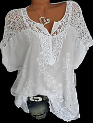 cheap -Women's Causal Loose Blouse - Solid Colored Lace V Neck Black / Summer