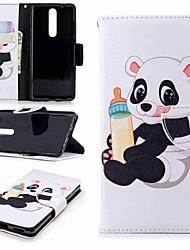 Недорогие -Кейс для Назначение Nokia Nokia 5 / Nokia 3 / Nokia 2.1 Кошелек / Бумажник для карт / со стендом Чехол Панда Твердый Кожа PU