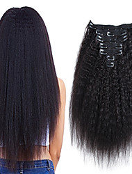 cheap -Clip In / On Human Hair Extensions kinky Straight Human Hair Human Hair Extensions Brazilian Hair Natural Black 7pcs / pack For Black Women Women's Black#1B